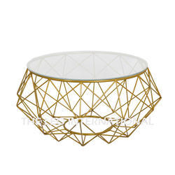 Metal Frame Coffee Table Golden Finish and Glass Top