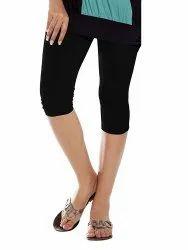 Black Mid Waist Lux Lyra Capri Leggings, Casual Wear, Size: Free Size