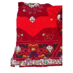 Red Hand Embroidery Marwadi Chunri