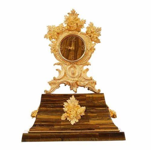 Decorative Golden Tiger Eye 24 Carat Gold Plated Table Clock