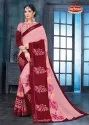 Printed Embroidered Vichitra Saree with Lace - Jigna