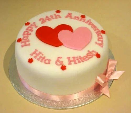 Anniversary Cake Eggless एगलस कक बन अणड
