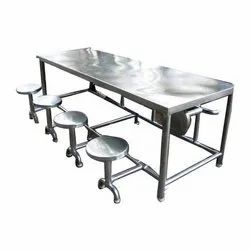 Silver Rectangular SS Dining Table, Size: 6x3 Feet