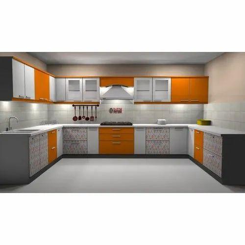 Plywood Laminated U Shape Kitchen