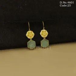 Designer Matt Gold Polish Stone Earrings