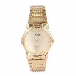 Artshai Golden Designer Mens Wrist Watch with Golden Dial and Metal Chain