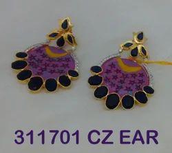 Brass Golden CZ Long Earring