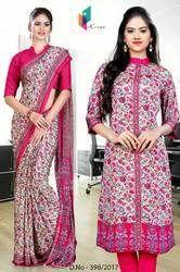 Pink and Cream Italian Crepe Uniform Saree Kurti Combo