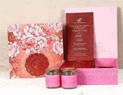 Cardboard Pink Floral Theme Box Wedding Invitation Card, Size/Dimension: 25.7cm X 25.6cm X 7.6cm(box)