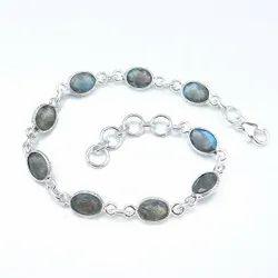 Labradorite Cabochon Bracelet in Silver