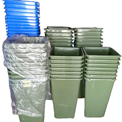 Plastic Blue And Green Portable Garbage Container