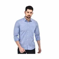 Collar Neck Casual Wear Mens Striped Shirts, Size: 44