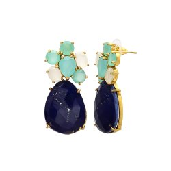 Lapis Lazuli Gold Plated Earring