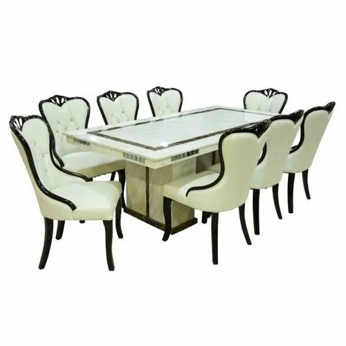 Max Furn Rectangular White Marble Dining Table Set For Home Rs 98000 Set Id 22070248391