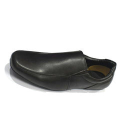 Black Mens Leather Slip On Shoes