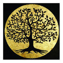10x10 inch Engraved Wood Wall Hanging with Gold leafing