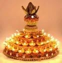 46 Automatic Rotating Three Layer Diya Thali