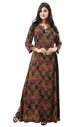 Black Rayon Printed Floor Length Gown, Length: 57 inch