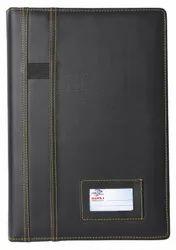Black Zipper Leather Ring Binder File Folder, Paper Size: Fs