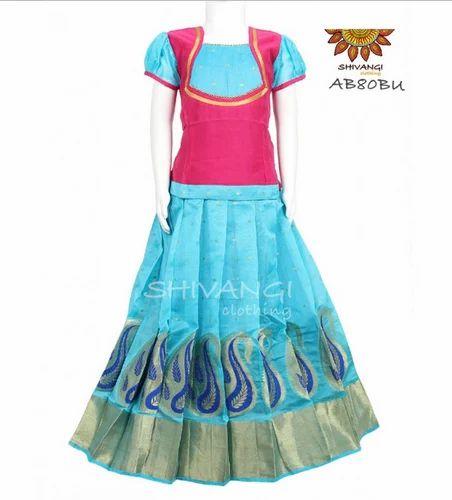 5c96b62f11 Sky Blue Shivangi Chanderi Pattu Pavadai-AB80BU, Rs 1495 /piece | ID ...