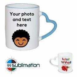 Heart Shape Handle Plain White Printed Mug