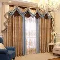 Eyelet Decorative Printed Poly Cotton Window Curtain