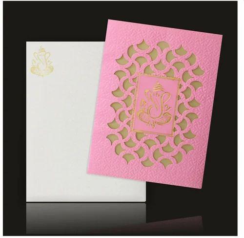 Elegant Pink Ganesha Laser Cut Wedding Card