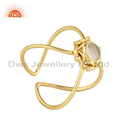 Crystal Quartz Gold Plated Handmade Design 925 Silver Ring Jewelry