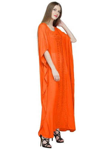 6e6122a0e5 Skavij Cool Kaftans Dress Robe Rayon Caftan Nightgown Embroidered Beach  Cover Up Plus Size Orange