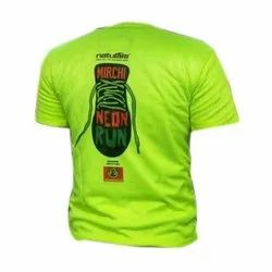 Polyester Round Mens Sports Printed T Shirts, Size: S-XL