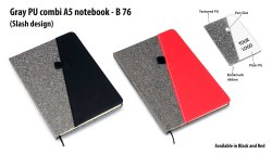 B76  Gray Pu Combi A5 Notebook Slash Design