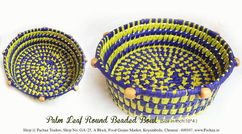Panai Palm Leaf Round Beaded Bowl At Rs 140 Piece प म ल फ