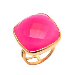 Fuchsia Chalcedony Big Gemstone Gold Plated Rings