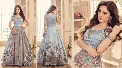 d5bea34a3a8 Silk Full Stitched Sanskar Style Meraki Nayra Digital Printed Fancy Party Wear  Stitched Gown