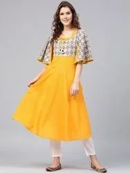 Ladies Yellow Ethnic Kurti
