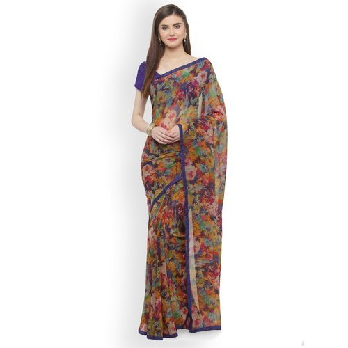 Casual Wear Ladies Georgette Fancy Saree with Blouse Piece