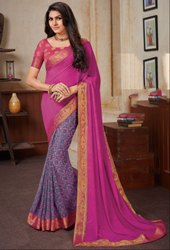Stone Grey and Magenta Georgette Saree with Double Blouse