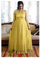 Net Chain Stitch Sequins Work Gown