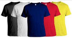 Blue And Yellow Plain Men's Round Neck T-Shirts