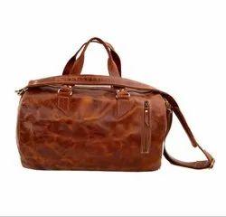 Weekender Bags Unisex Handmade Leather Overnight Barrel Weekend Bag, For Luggage