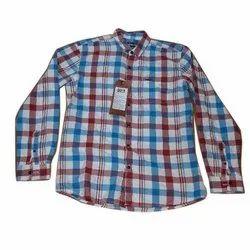 Collar Neck Long Sleeve Mens Checks Casual Cotton Shirt, Size: L