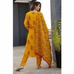 Ladies Yellow Printed Kurti With Bottom And Dupatta