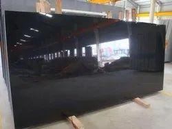 Polished Big Slab Jet Black Granite, For Flooring, Thickness: 15-20 mm