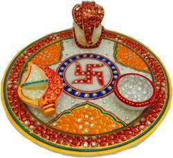 Marble Silver Coated Pooja Thali