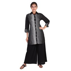 Black And White Crepe Kurti