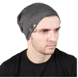 Dark Grey Slouchy Ring Beanie