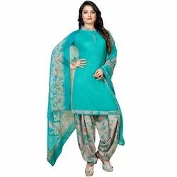 Rajnandini Sky Blue Crepe Printed Unstitched Dress Material