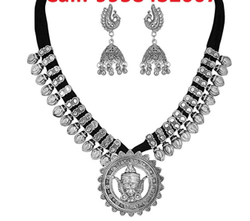 Oxidized Polish Temple Statement Thread Necklace Fashion Jewelry for Women and Girls