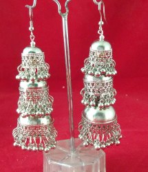 Metal NK Imitation Oxidized Silver Afghani Tribal Jhumki Earrings