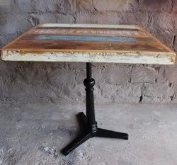 Solid Rustic Reclaimed Wooden Square Top With MS Iron Cafe Restaurant Dining Table